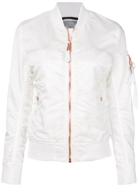 White bomber jacket