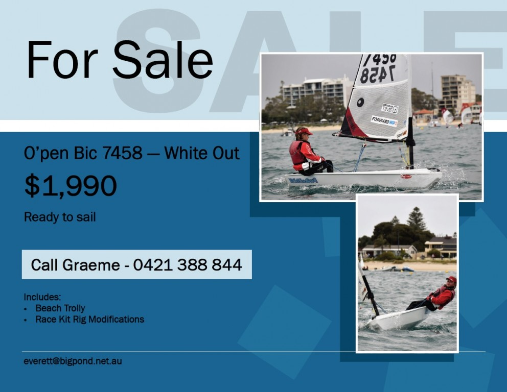 For Sale/Noticeboard - Perth Dinghy Sailing Club