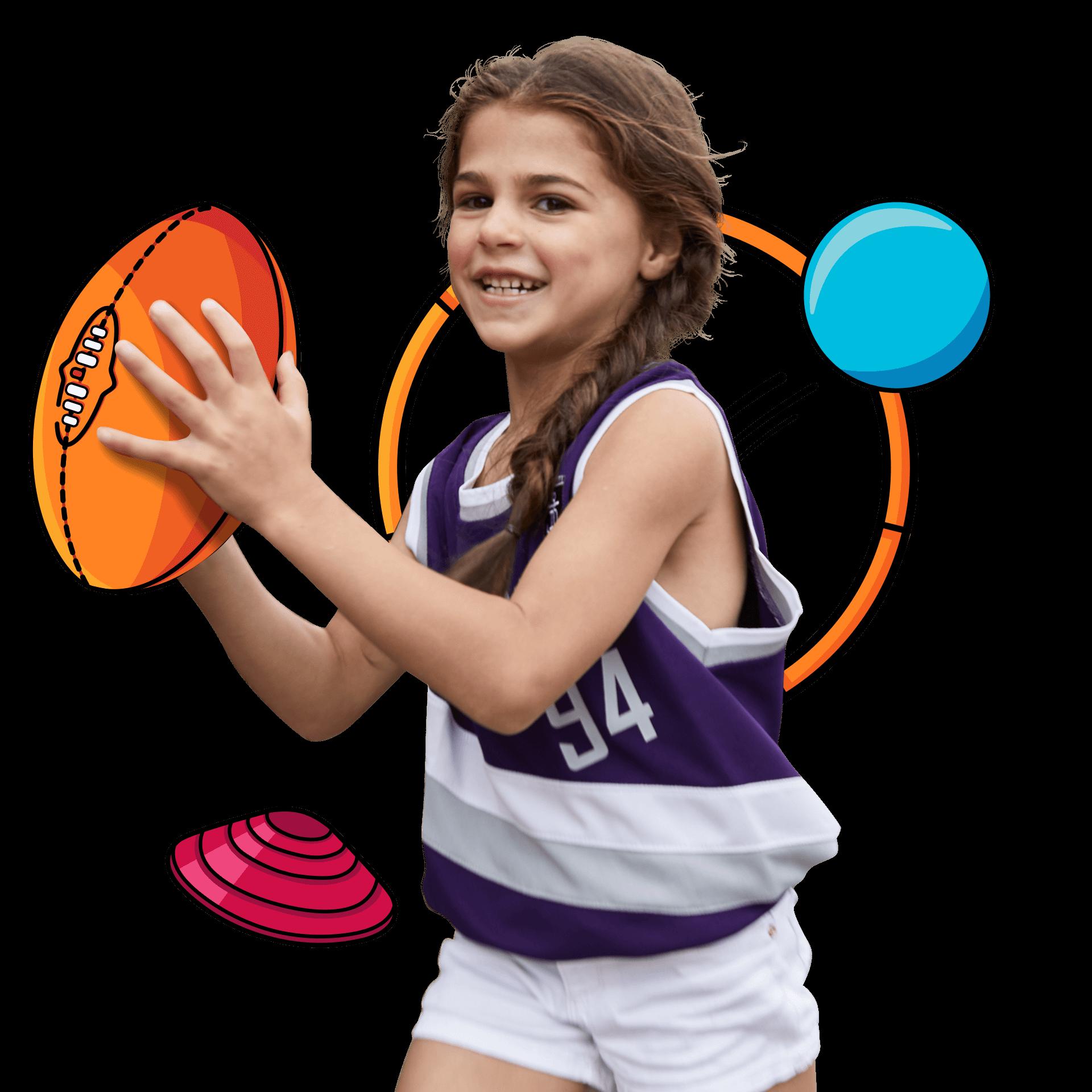 A girl catching a ball!