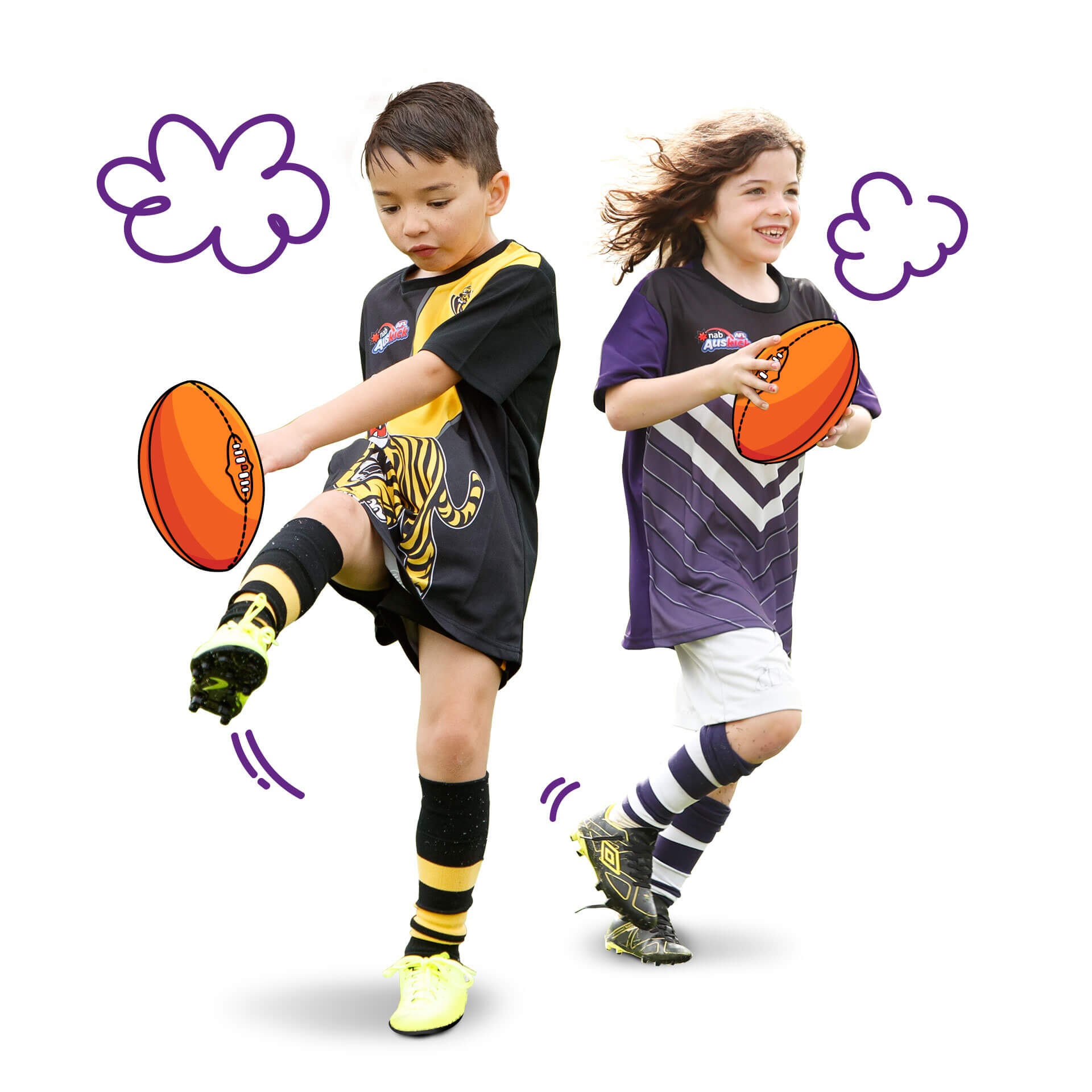 A boy and a girl playing footy