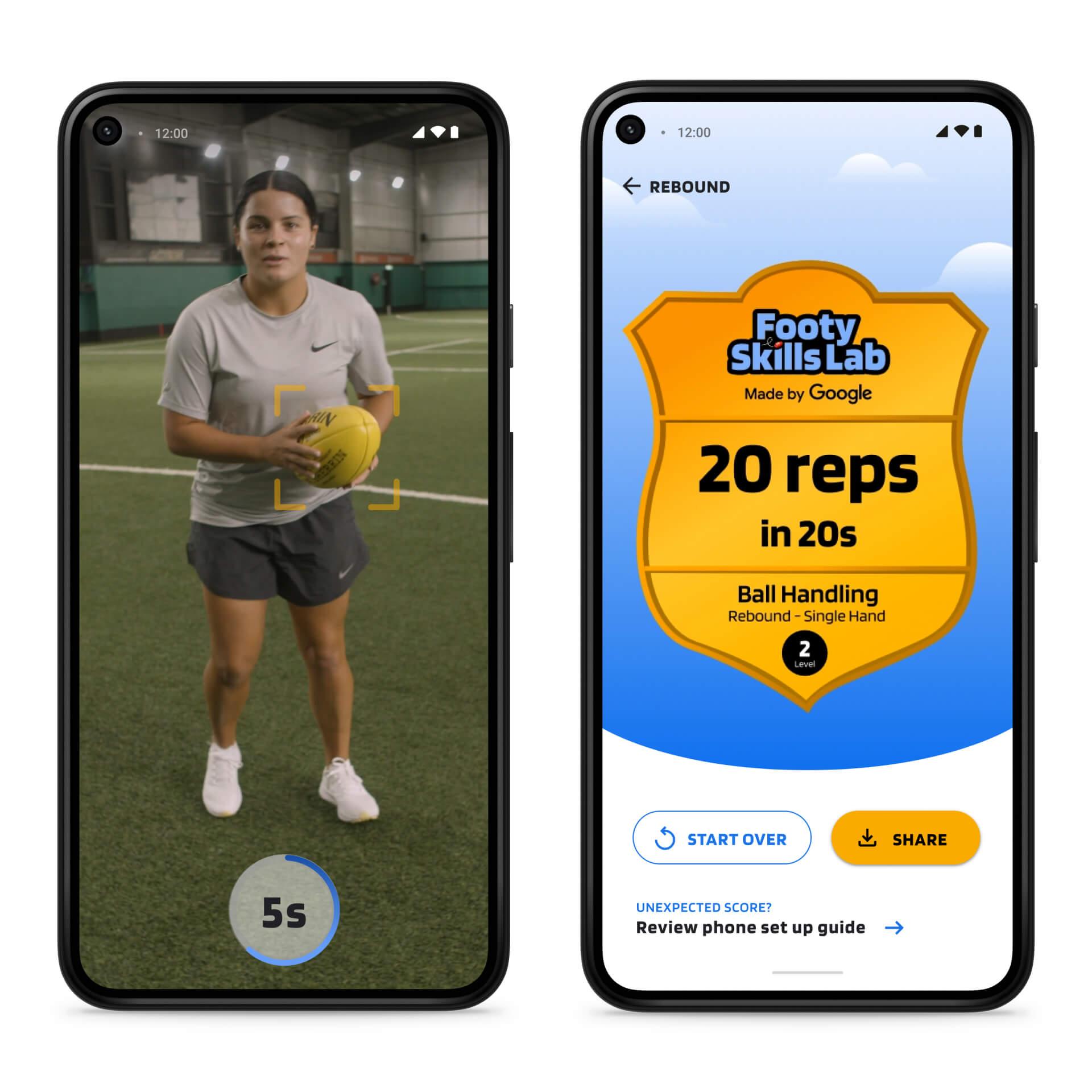 Two phone screens displaying the footyskillslab app