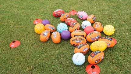 A collection of footy balls
