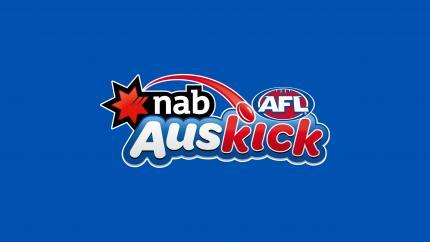 Auskick Logo with a blue background