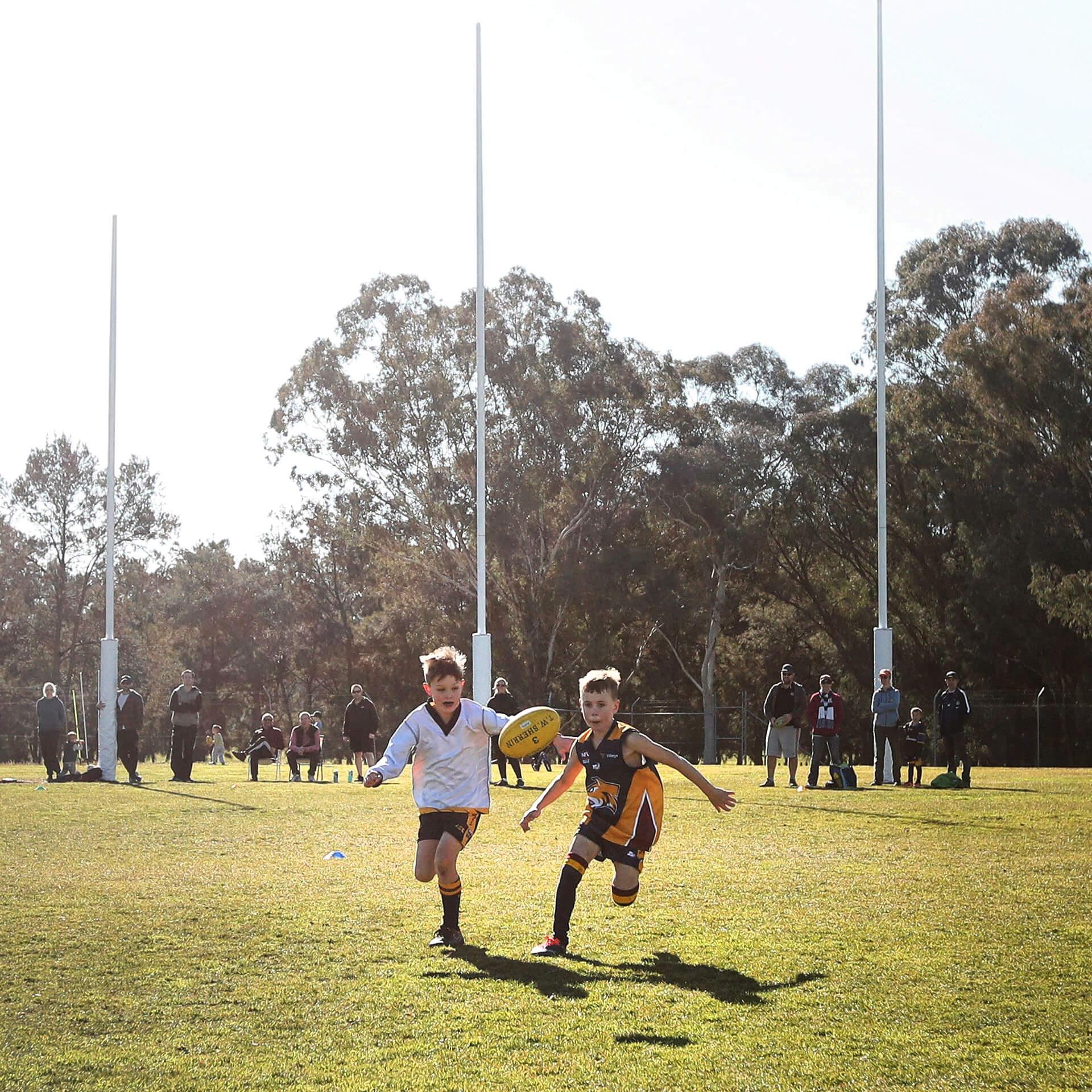 Boys running towards the camera