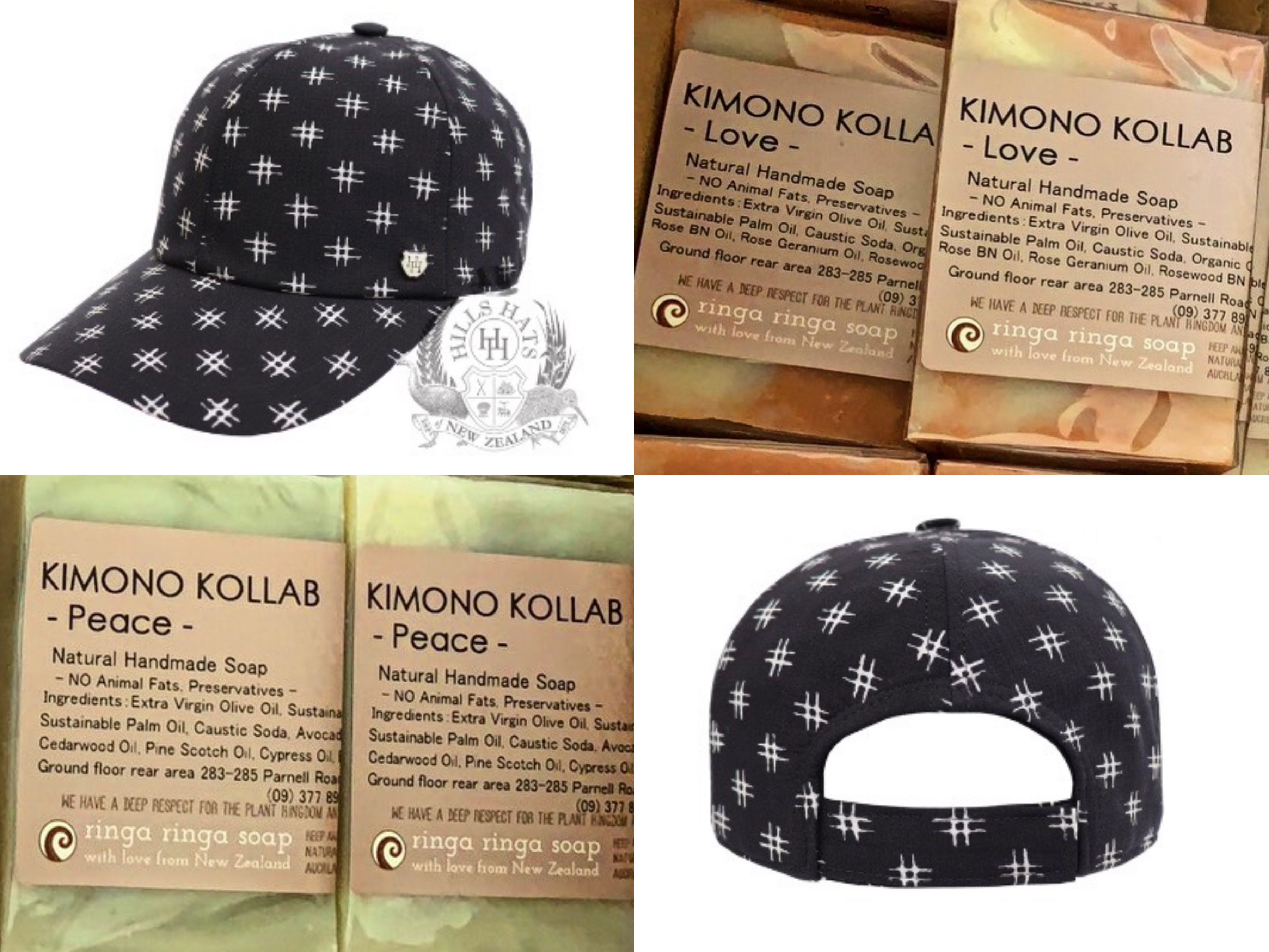 "Special ""KIMONO"" Fabric Cap By ""Hills Hats X KIMONO KOLLAB"" With Organic Soap From NZ Produce By KIMONO KOLLAB"