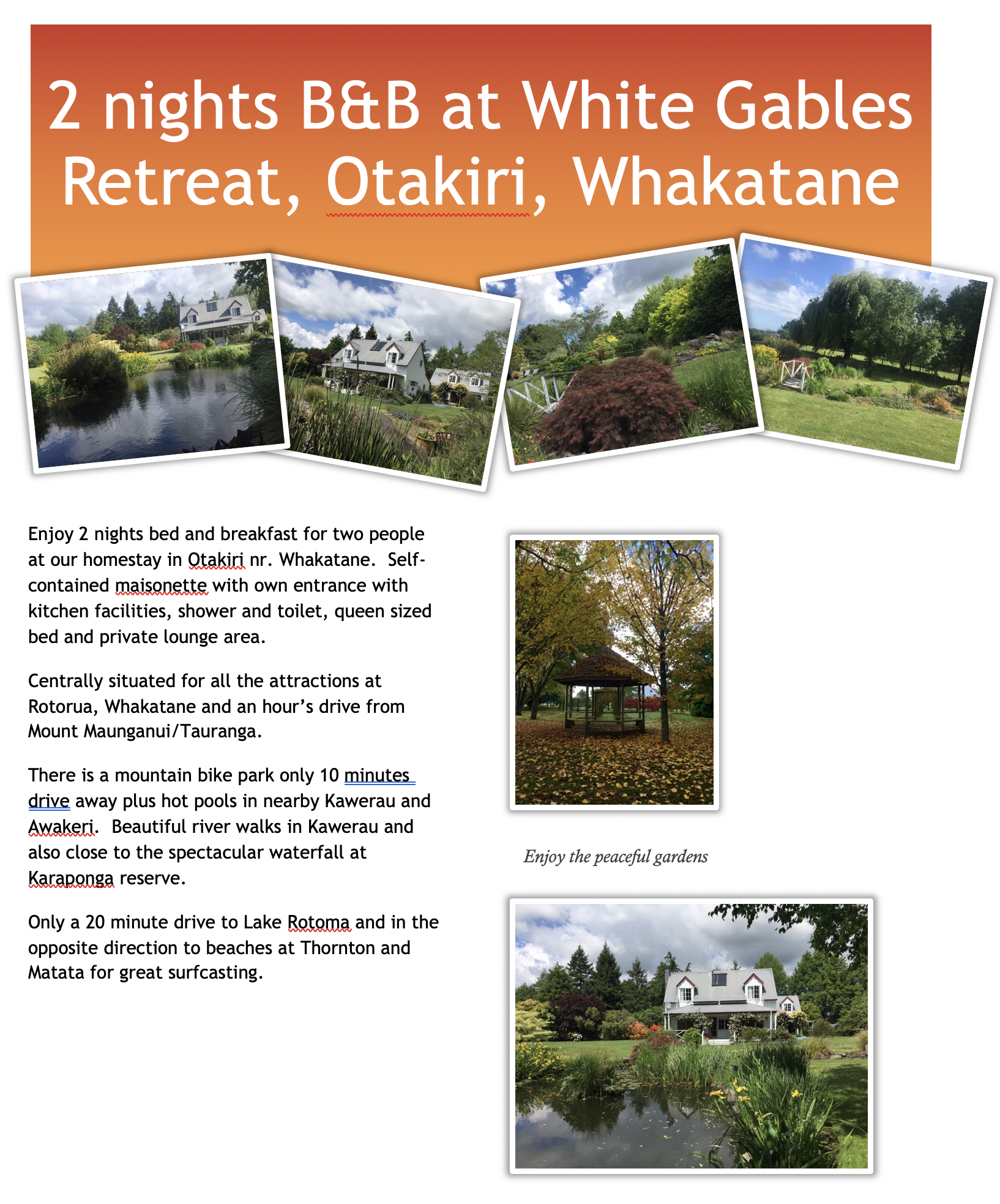 2 Nights At White Gables BnB, Otakiri