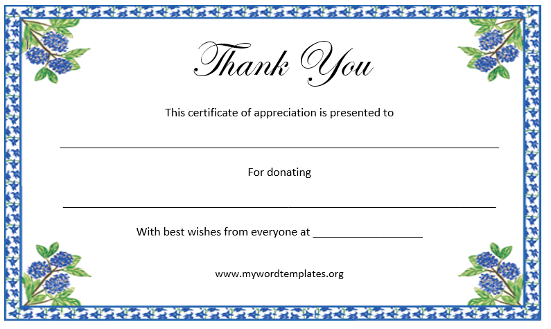 Printed Certificate Of Thanks