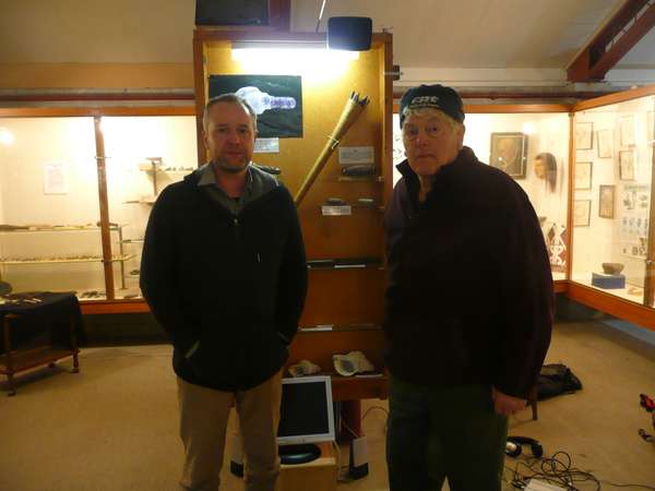Alistair Fraser and Murray Thacker and the Okain's Bay Museum taoka pūoro collection