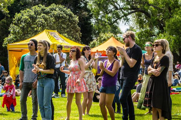 Crowd enjoying Waitakere Festival 2013