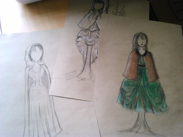 Labyrinthine costume design concept sketches by Louise