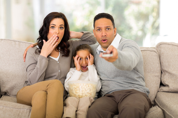 Family Watching Movie And Seeing Scene They'd Rather Bleeep Out!