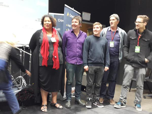 Team Bleeep Taking the Stage after Winning Startup Weekend, Nelson 2015