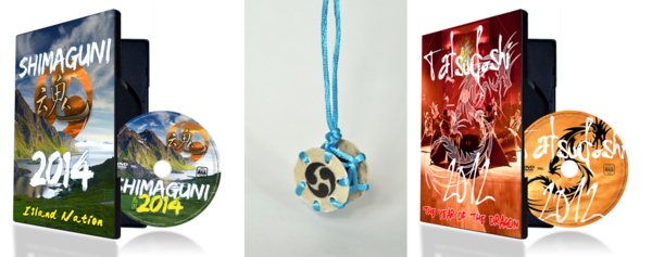Tamashii's Shimaguni and Tatsudoshi DVDs and shime-daiko keychain