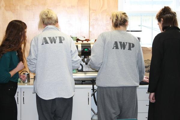 Inmates learning coffee skills at Arohata Womens Prison