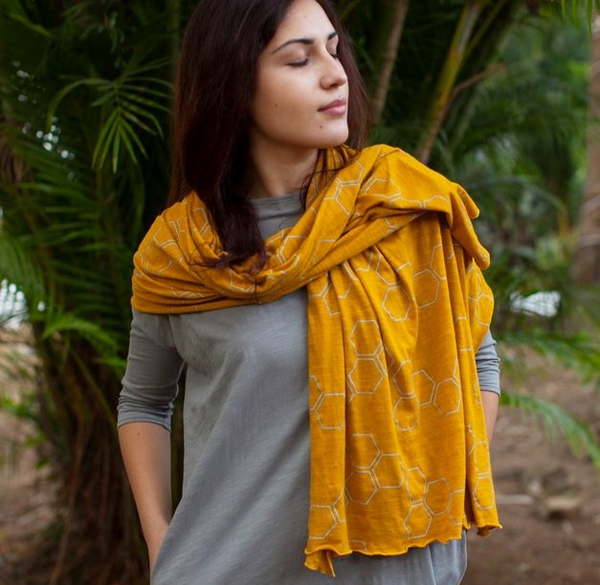 Yellow Honeycomb Scarf