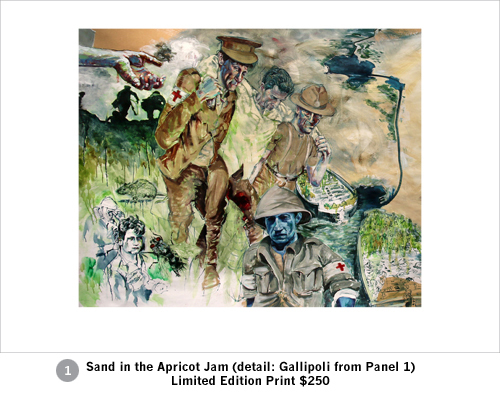 Limited edition print Sand in the Apricot Jam detail - Gallipoli