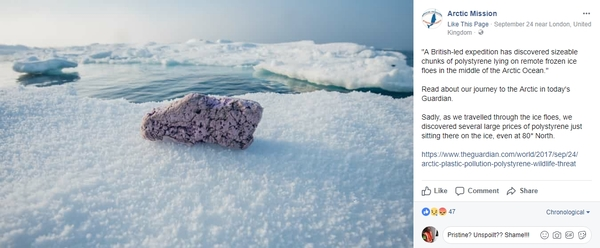 A British-led expedition has discovered sizeable chunks of polystyrene in the Arctic