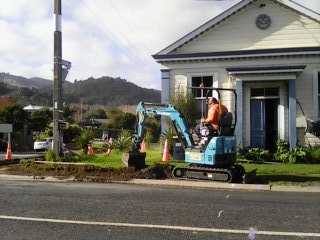 Installing the Pedestrian Crossing, 10th May 2018.