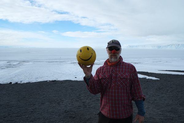 Al Fastier at Antarctica with the Charity FC football