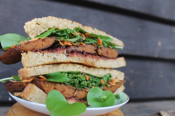 Seitan sandwich with local greens and Tamarillo relish