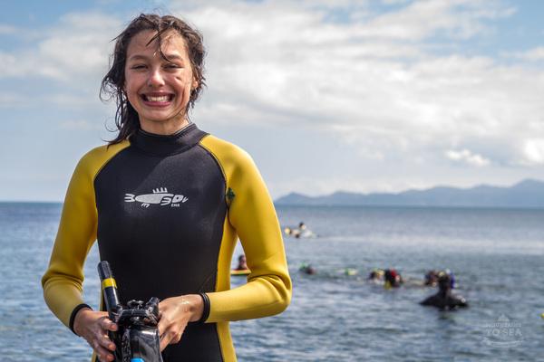 Kapiti college student snorkelling at Pukerua Bay