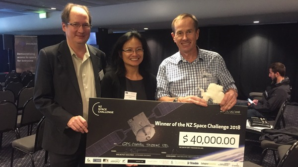 NZ Space Challenge 2018. SpaceBase Founders Eric and Emeline with Challenge winner.