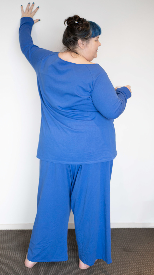 a fat babe in blue pjs