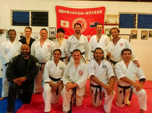 Ben with senior members of Seishin-Ryu Karate NZ