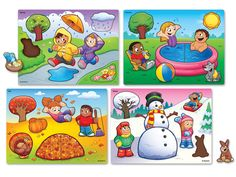 Children Playing in 4 seasons