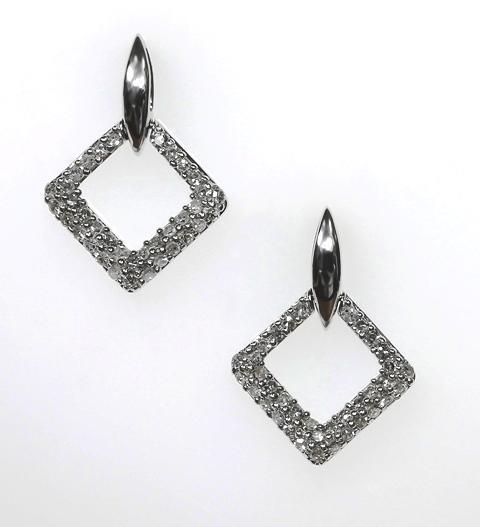 18ct W/G Diamond set Art Deco studs