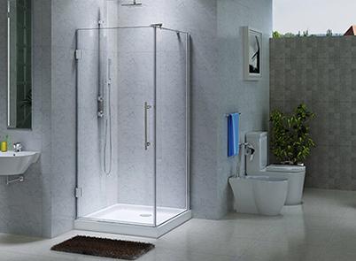 Frameless shower screen 870 x 870mm with pivot door