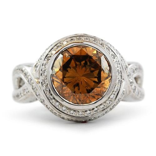 Orange/Champagne and White Diamond Ring