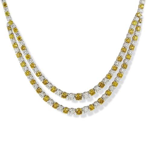Bespoke Orange & White Diamond Necklace
