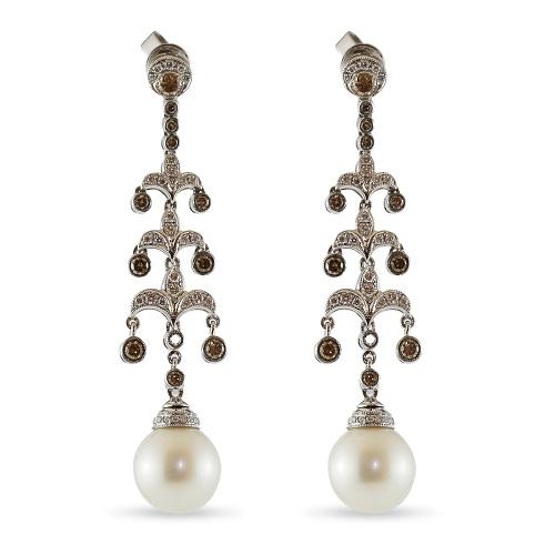 Pearl Drop & Champagne Diamond Earrings