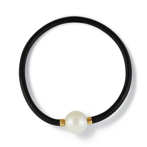 South Seas Pearl and Leather Bracelet