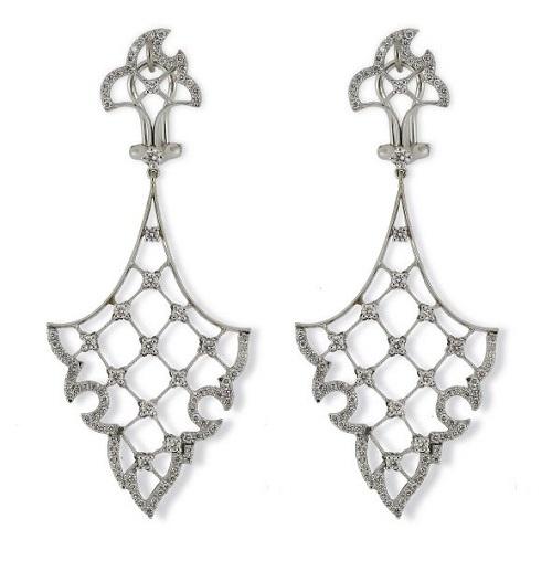 Vintage Diamond Drop 'Flame' Earrings