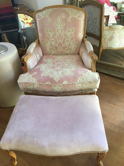 French Louie Chair and Ottoman