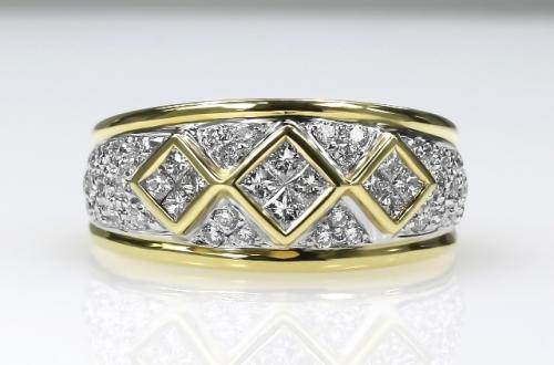 18ct Y/G Invisible set diamond ring size N