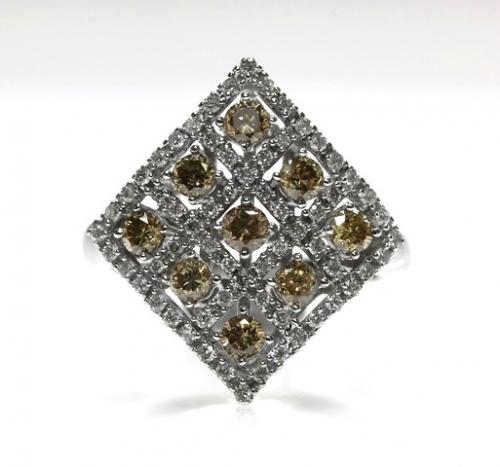 18ct W/G Champagne & white diamond ring size L