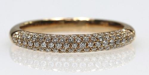 18ct R/G Pave' set diamond ring size M
