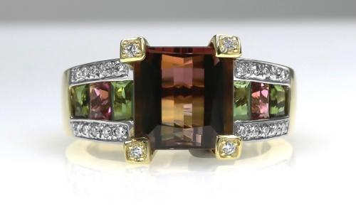 18ct Y/G Tourmaline/diamond ring size N