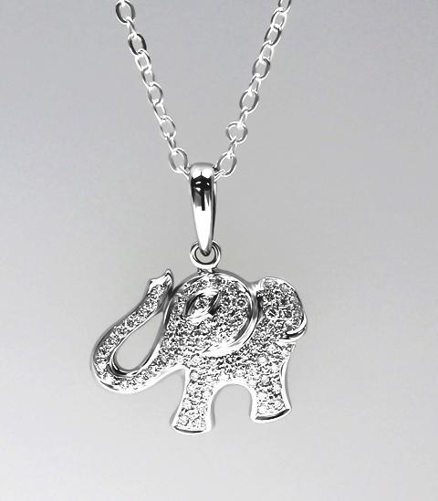18ct W/G Diamond set elephant pendant
