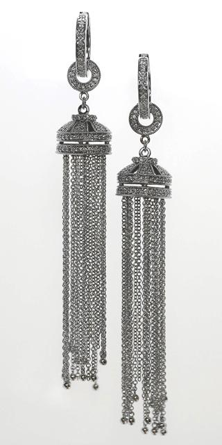 18ct W/G Diamond set tassle earrings