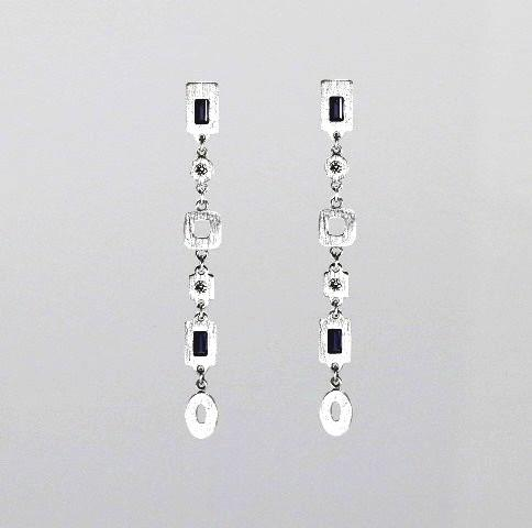 18ct W/G Iolite and diamond earrings