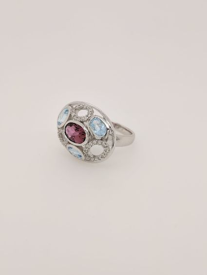Diamond, Tormaline and Topaz ring
