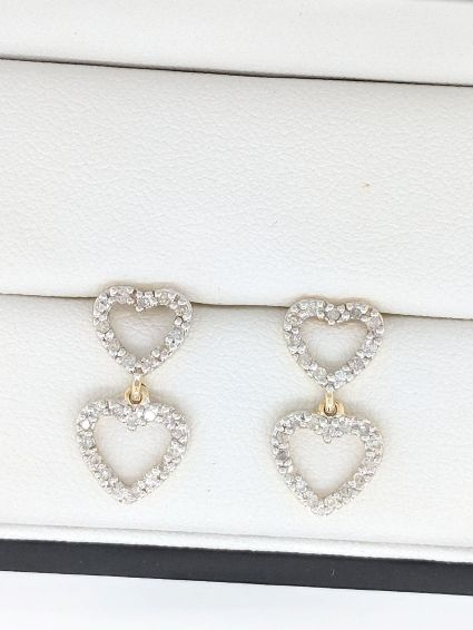 Diamond Heart Drop Earrings