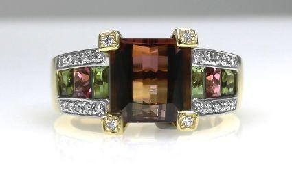 18ct Y/G Tourmaline/diamond ring