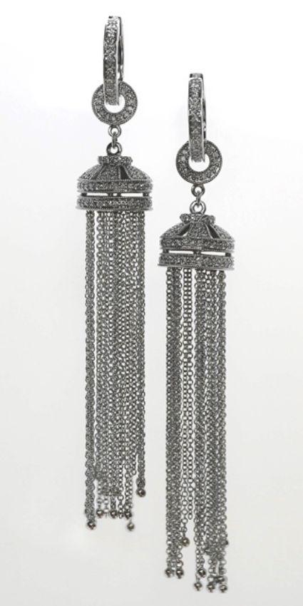 18ct W/G Diamond set tassle earrings