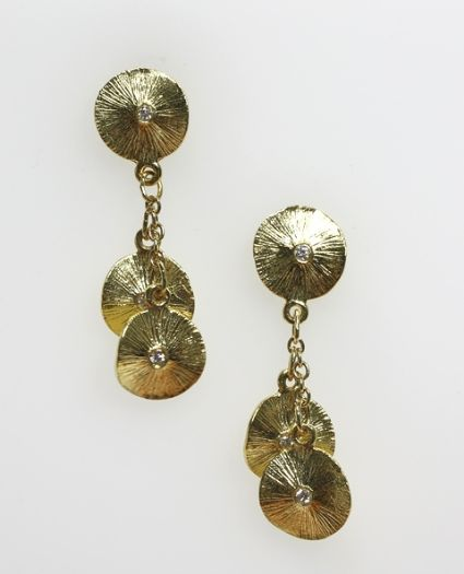 18ct Y/G Lilly pad earrings