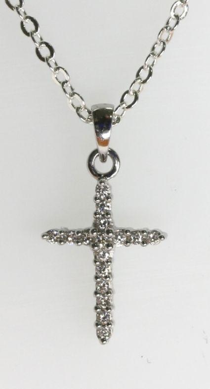 18ct W/G Diamond cross pendant